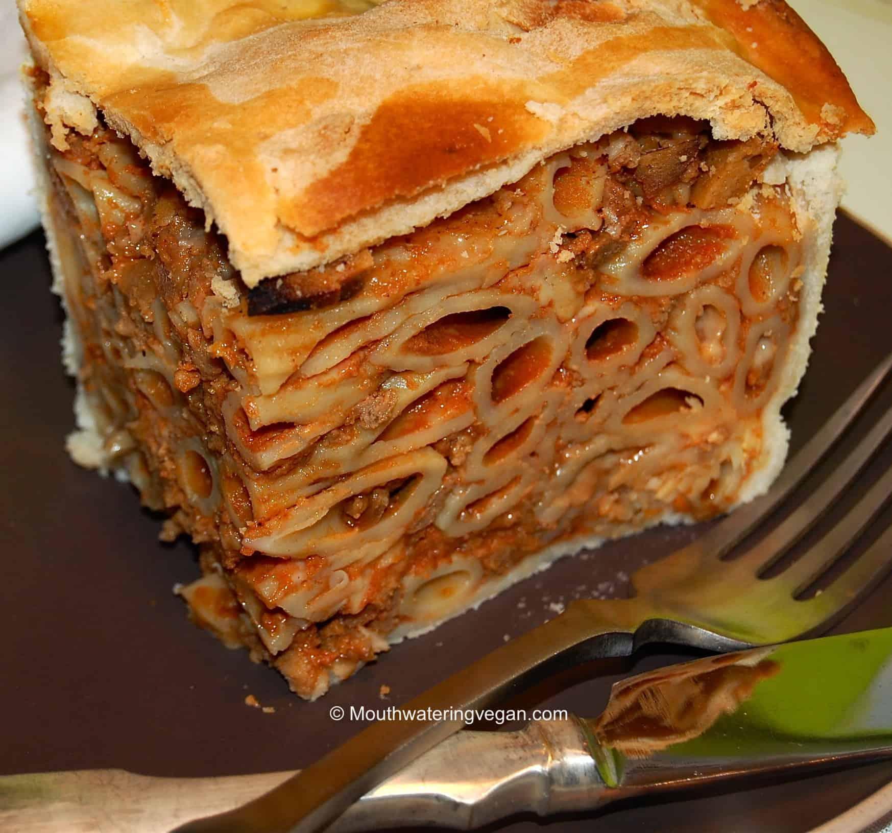 ... Vegan Timpana – the Ultimate Naughty Pasta Pie - Mouthwatering Vegan