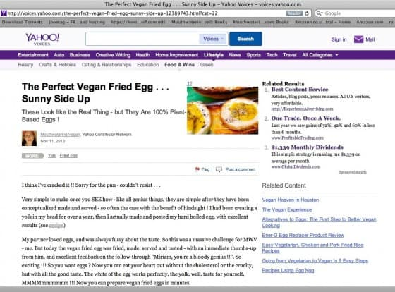 Yahoo Voices Fried Egg
